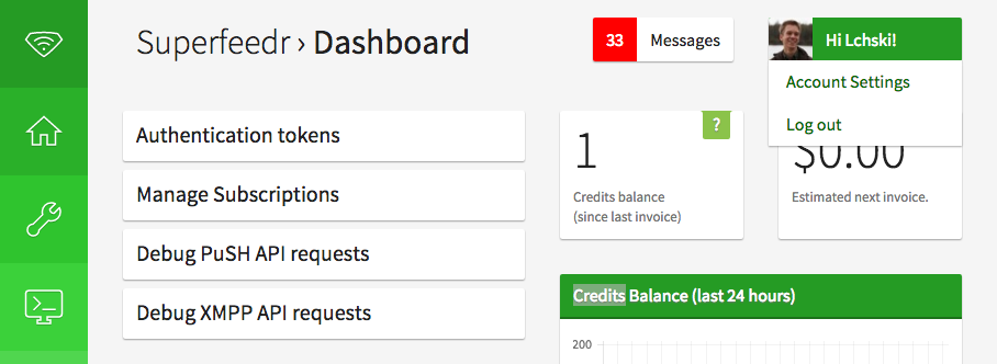 Superfeedr's redesigned dashboard, with a focus on statistics and commonly-used functions